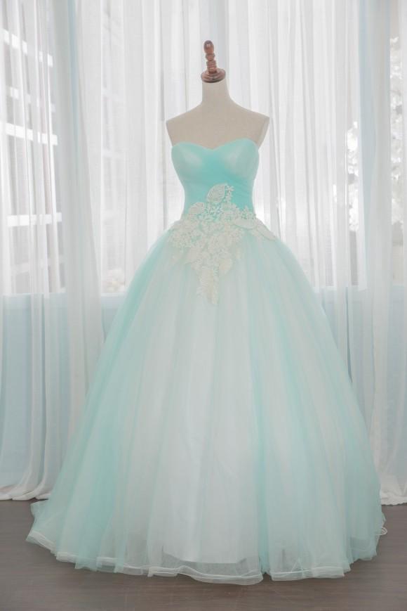 禮服出租:果綠粉嫩蕾絲抹胸款晚禮服