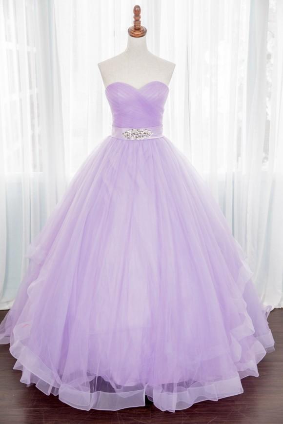 禮服出租:透膚粉紫色抹胸星空晚禮服