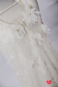 手工婚紗推薦:法國蕾絲透膚白紗